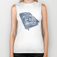 library Biker Tanks featuring Library by WEAREYAWN