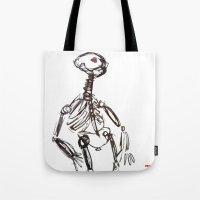 skeleton Tote Bags featuring Skeleton by Myles Hunt