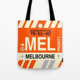 MEL Melbourne • Airport Code and Vintage Baggage Tag Design Tote Bag