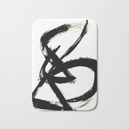 Brushstroke 3 - a simple black and white ink design Bath Mat