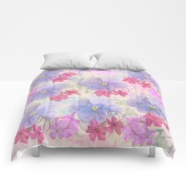 Painterly purple pansies and pink Oxalis Comforters