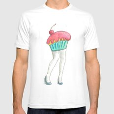 Muffin Tops  MEDIUM White Mens Fitted Tee