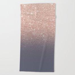 Modern faux rose gold glitter ombre gradient on purple grey Beach Towel
