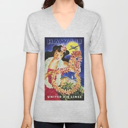 Visit HAWAII by Air Vintage American Airlines Travel Poster Advertising Unisex V-Neck