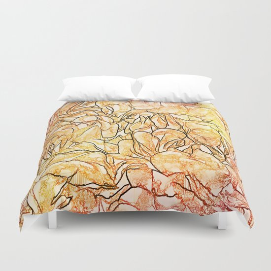 Orange Painterly Floral Abstract Duvet Cover