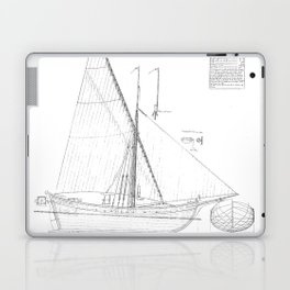 Vintage black & white sailboat blueprint drawing antique nautical beach or lake house preppy decor Laptop & iPad Skin