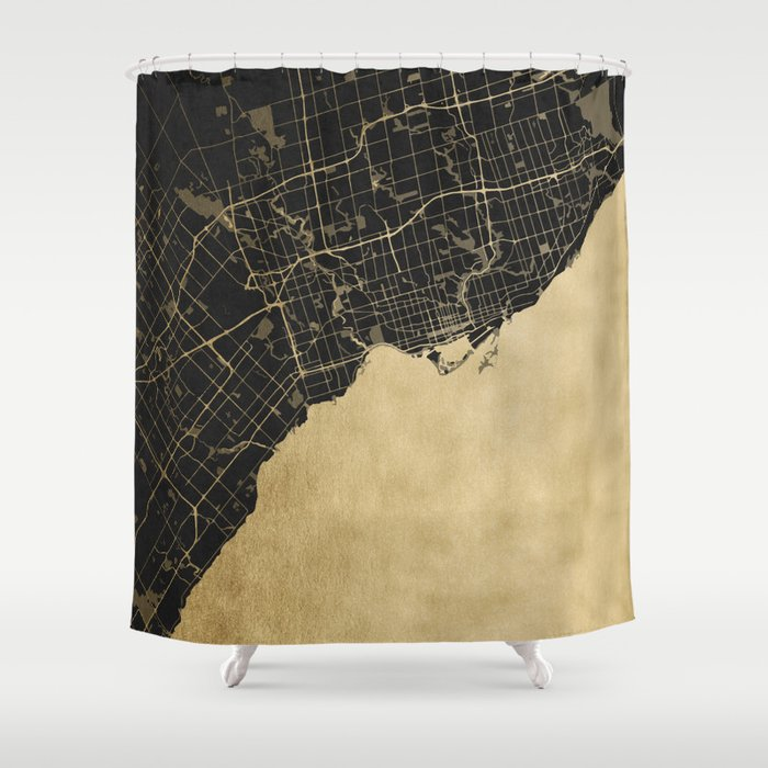 Toronto Gold and Black Street Map Shower Curtain by mapmaker | Society6