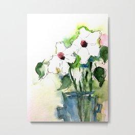 Watercolor White Flowers Bouquet Art Metal Print