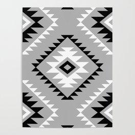 Aztec Style Motif Pattern Monochrome Poster