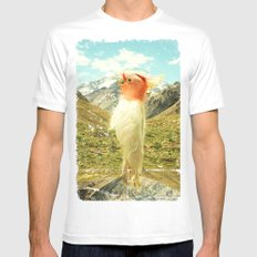 Parrot Mountain MEDIUM Mens Fitted Tee White