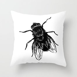 Drawing house-fly Throw Pillow