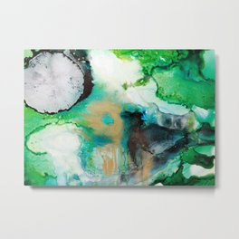 Rainbow End Ink Abstract Painting Metal Print