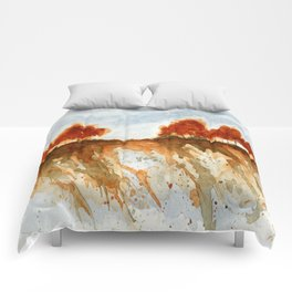 Firebranch Ridge, Watercolor Abstract Landscape Art Comforters