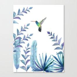 Hummingbird with tropical foliage Canvas Print