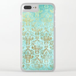Mermaid Gold Aqua Seafoam Damask Clear iPhone Case