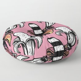 Pink Coral Groovy Banana Outlined Print Tropical Pattern Floor Pillow
