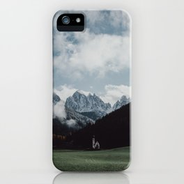 Moody Mountain Church in The Dolomites iPhone Case