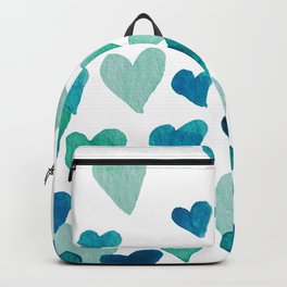 Valentine's Day Watercolor Hearts - turquoise Backpack