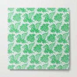 Pegasus Pattern Green Metal Print