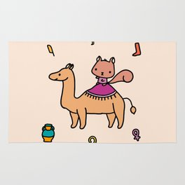 Squirrel and camel Rug