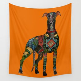 greyhound orange Wall Tapestry
