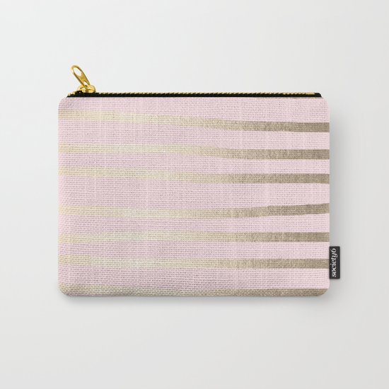 Drawn Stripes White Gold Sands on Flamingo Pink Carry-All Pouch