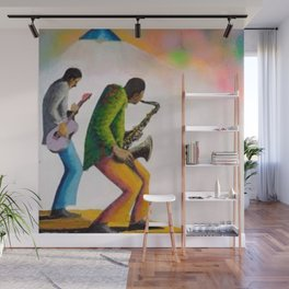 African American Masterpiece 'Bass, Sax, and Jazz' by Benny Andrews Wall Mural