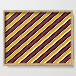 TEAM COLORS 1…Maroon Gold black and white diagonal stripe Serving Tray