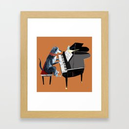 Piano lesson with Angel Gerahmter Kunstdruck
