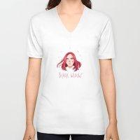 black widow V-neck T-shirts featuring Black Widow by Galaxyspeaking