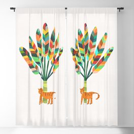 Whimsical travelers palm with tiger Blackout Curtain