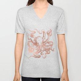 Rose Gold Octopus Unisex V-Neck