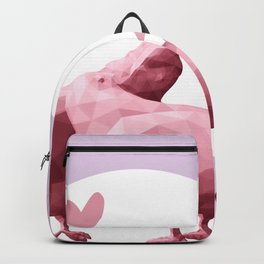 Low poly art with two kissing pigeons, pink pigeons silhouettes, valentines day love art print  Backpack
