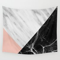 swag Wall Tapestries featuring Marble Collage by cafelab
