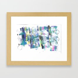 Green Blue Abstract with Black Circles Framed Art Print