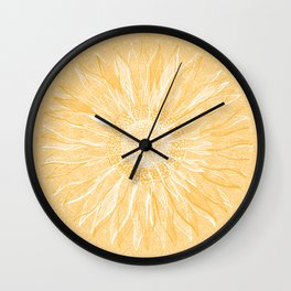 Mandala, Sunflower Prints, Yellow Wall Clock
