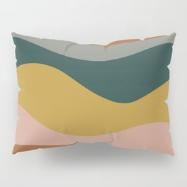 Retro Waves Minimalist Pattern 2 in Rust, Blush Pink, Gray, Navy Blue, and Mustard Gold Pillow Sham