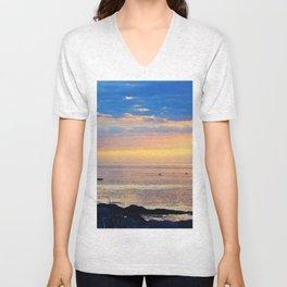 Sparkling Sunset Seascape Unisex V-Neck