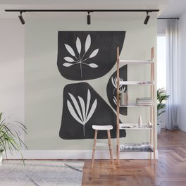 Black & White Minimalist Tribal Floral Fossilized Ink Shapes Dark Abstract Art Wall Mural
