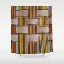 70s Lawn Chair 3 - Brown Orange Rainbow with Dusty Blue Shower Curtain