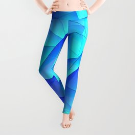 Abstract celestial pattern of blue and luminous plates of triangles and irregularly shaped lines. Leggings