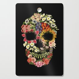 Floral Skull Vintage Black Cutting Board
