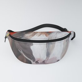 Horses Snuggle on Red Fanny Pack