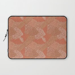 Brush Strokes Abstract Pattern, Brick with Coral and Tan Laptop Sleeve