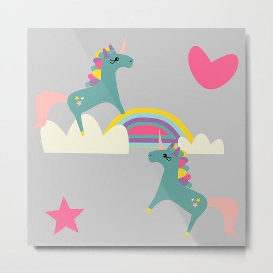 unicorn and rainbow gray Metal Print