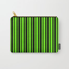 Bright Green and Black Vertical Var Size Stripes Carry-All Pouch