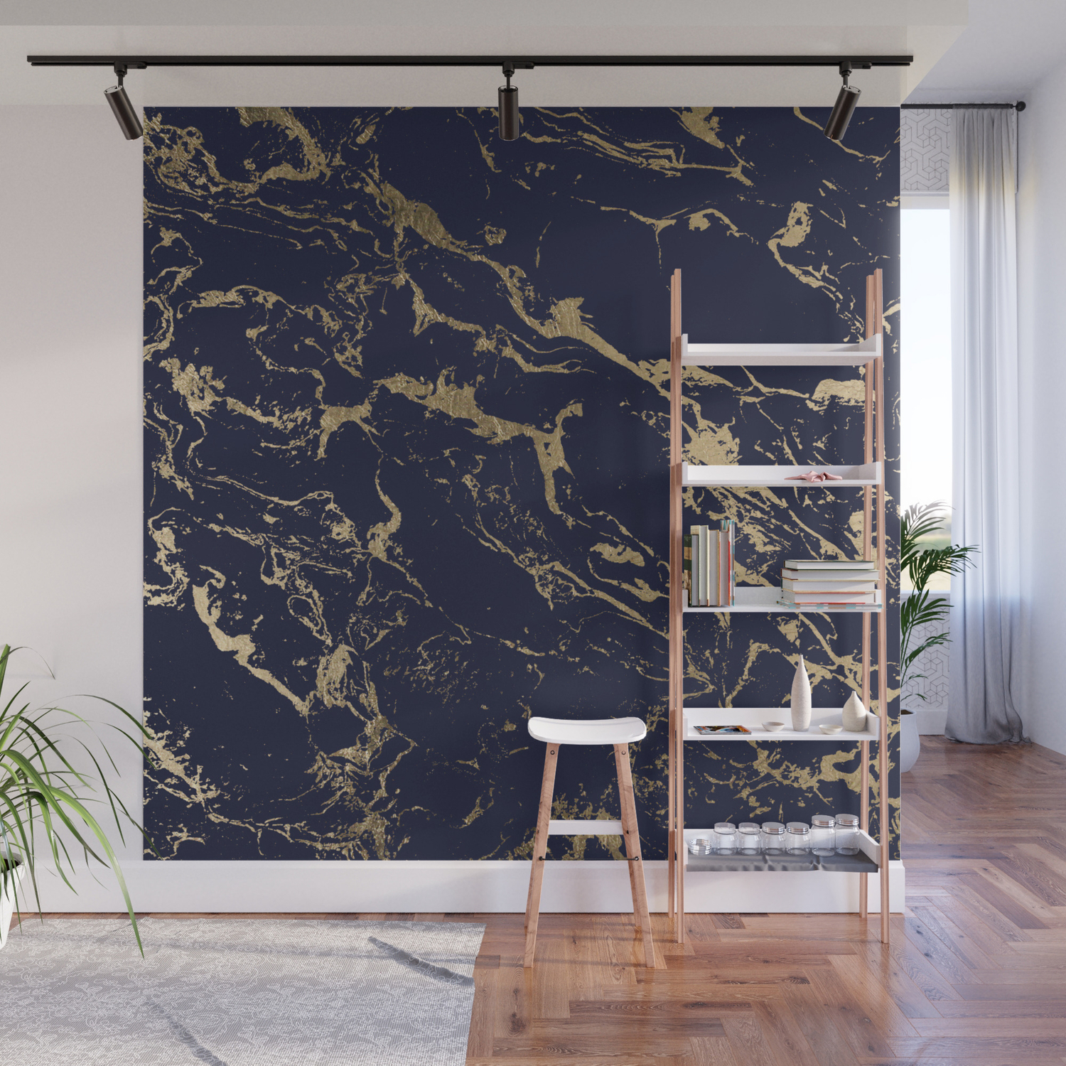 Modern Luxury Chic Navy Blue Gold Marble Pattern Wall Mural By Girlytrend Society6