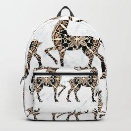 Marbled Black and Rose-Gold Mandala Reindeer Textile Backpack