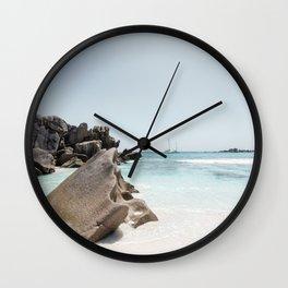 Paradise beach Anse Coconut La Digue Seychelles  Wall Clock