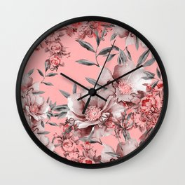 Peach Red and Gray Floral Wall Clock